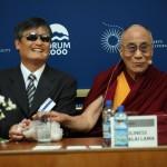 Při debatě vládla přátelská a podporující atmosféra (Čchen Kuang-čcheng, Jeho Svatost dalajlama)