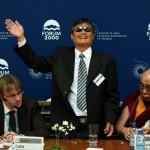 Čínský disident Čchen Kuang-čcheng děkuje publiku za potlesk
