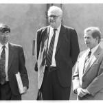 David Shapiro, John Hejduk,Václav Havel během vernisáže v září roku 1991. (foto: Jaroslav Zastoupil)