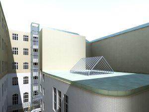 Vizualizace nové výtahové šachty, návrh G.L.ARCHITEKTI, s.r.o.
