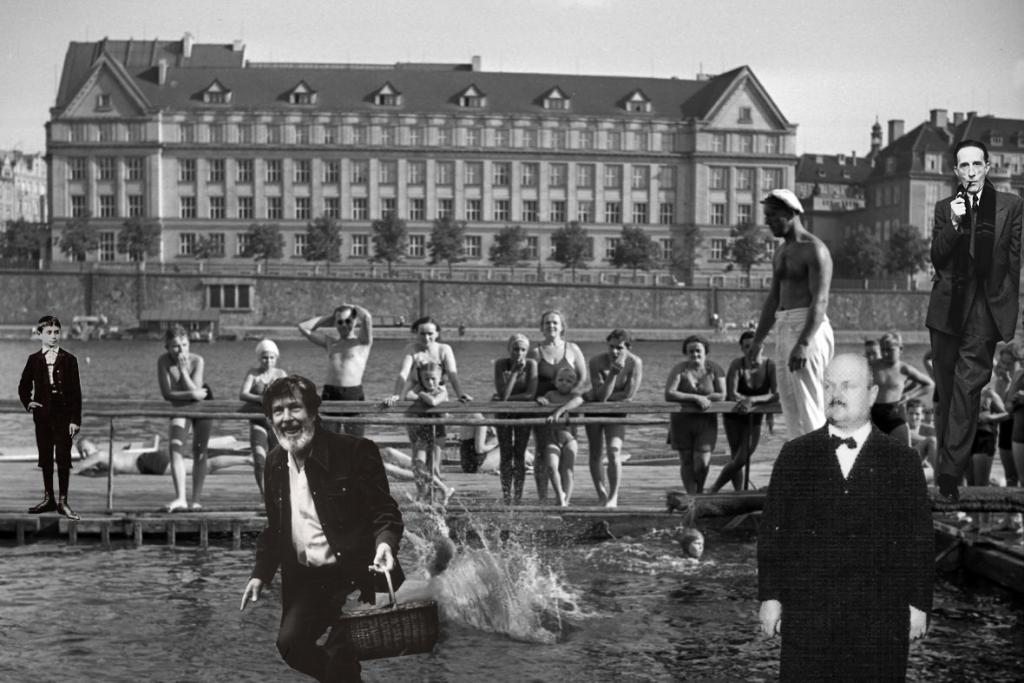 John Cage, František Smotlacha a Marcel Duchamp odpočívají po houbařském výletě na vltavské plovárně, kam chodíval i malý Franz Kafka